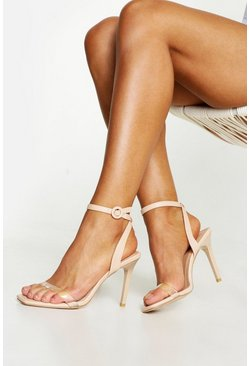 Womens Nude Clear Strap 2 Part Stiletto Heels