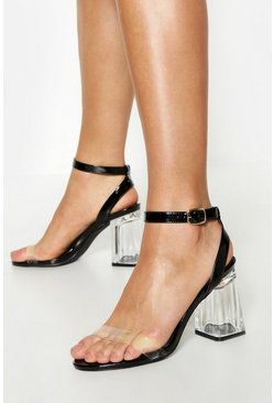 Womens Black Wrap Up Clear Block Heels