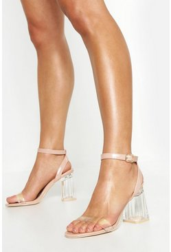 Womens Nude Wrap Up Clear Block Heels
