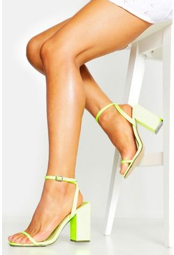 Womens Neon-yellow Square Toe Two Part Heels