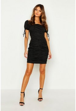 Womens Black Puff Sleeve Ruched Mini Dress