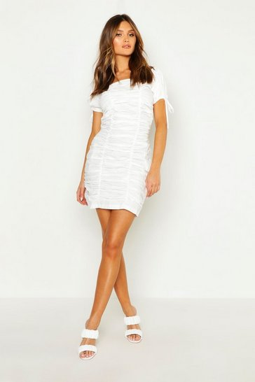 Womens White Puff Sleeve Ruched Mini Dress