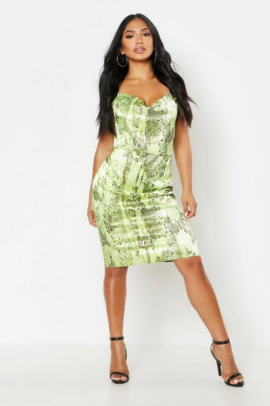 Womens Green Satin Snake Cowl Neck Midi Slip Dress
