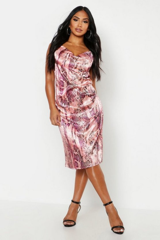 Pink Satin Snake Cowl Neck Midi Slip Dress