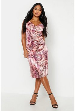 Womens Pink Satin Snake Cowl Neck Midi Slip Dress