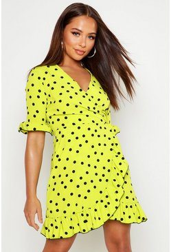 Green Neon Spot Ruffle Front Tea Dress