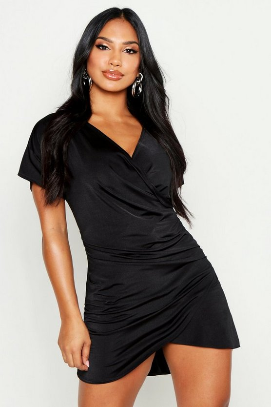 Womens Black Wrap Side Rouche Shift Dress
