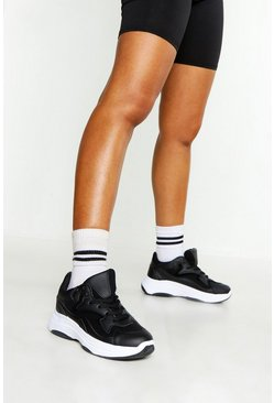 Womens Black Chunky Sole Lace Up Trainers