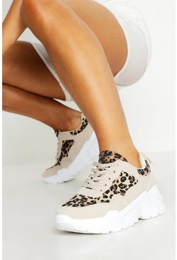 Womens Natural Leopard Panel Tonal Chunky Trainers