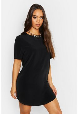 Womens Black Woven Shift Dress
