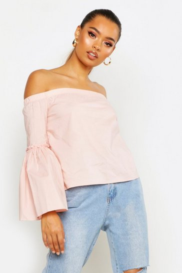 Womens Pink Off The Shoulder Flare Sleeve Blouse