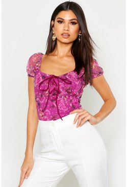 Womens Pink Floral Mesh Lace Up Top