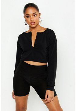 Womens Black Loop Back Notch Front Cropped Sweat