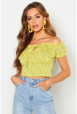 Womens Yellow Ditsy Floral Peasant Crop Top
