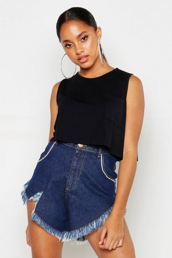 Black Basic Pocket Sleeveless Crop Sleeve Top