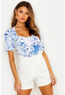 Womens Blue Floral Print Corset Style Top