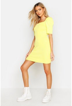 Womens Yellow Puff Sleeve Square Neck Knitted Dress
