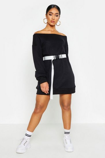 Womens Black Off The Shoulder Sweat Dress