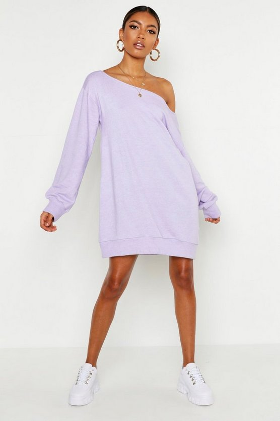 Womens Lilac Off The Shoulder Sweat Dress