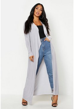 Womens Grey Slinky Waterfall Front Jacket