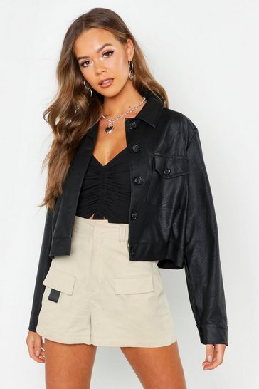 Womens Black Faux Leather Trucker Jacket
