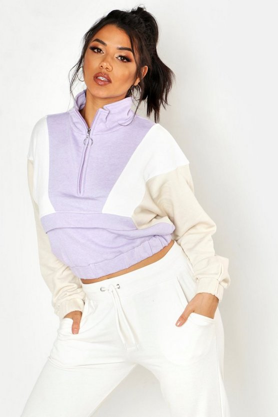 Womens Lilac Colour Block Zip Detail Crop Sweat