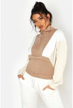 Womens Stone Colour Block Zip Detail Crop Sweat