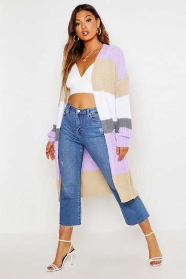Womens Cream Oversized Colourblock Boyfriend Cardigan