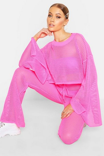 Womens Neon-pink Crochet Cropped Top & Flare Trouser Set