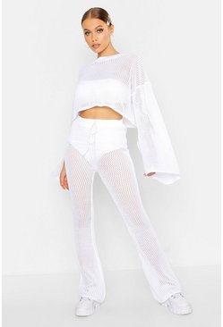 Womens White Crochet Cropped Top & Flare Trouser Set
