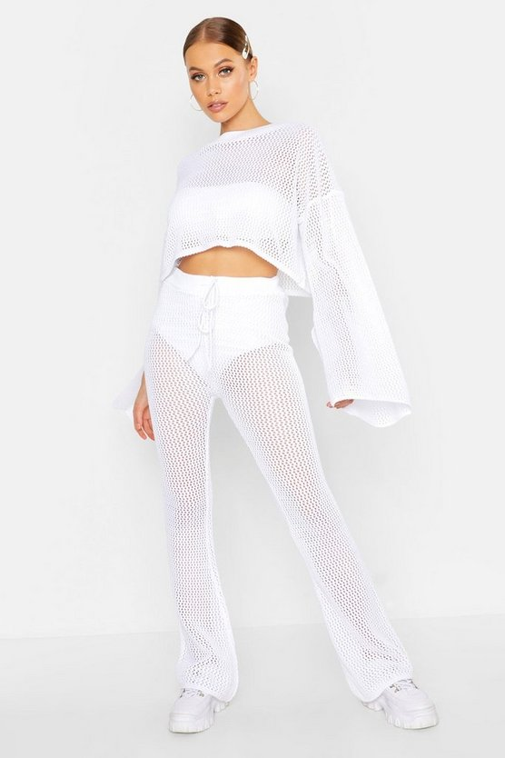 Womens White Crochet Cropped Top & Flare Pants Set