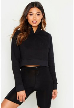 Womens Black Woman Slogan Zip Detail Crop Sweat