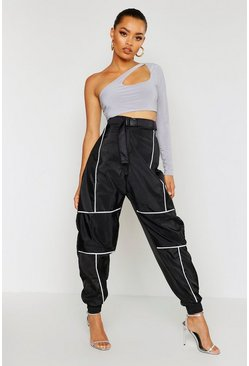 Womens Black Reflective Piping Belted Joggers