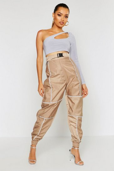 Womens Light stone Reflective Piping Belted Joggers