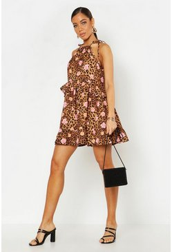 Womens Floral Leopard Halter Neck Smock Dress