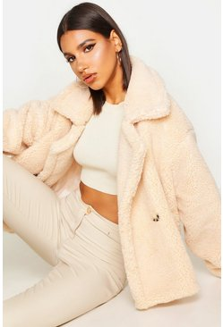 Cream Double Breasted Short Teddy Faux Fur Coat