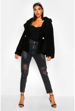 Womens Black Double Breasted Short Teddy Faux Fur Coat