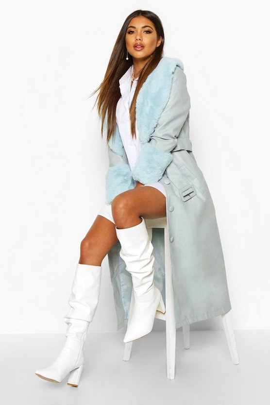 Faux Fur Trim Pu Trench Coat Faux Fur Trim Pu Trench Coat by Boohoo