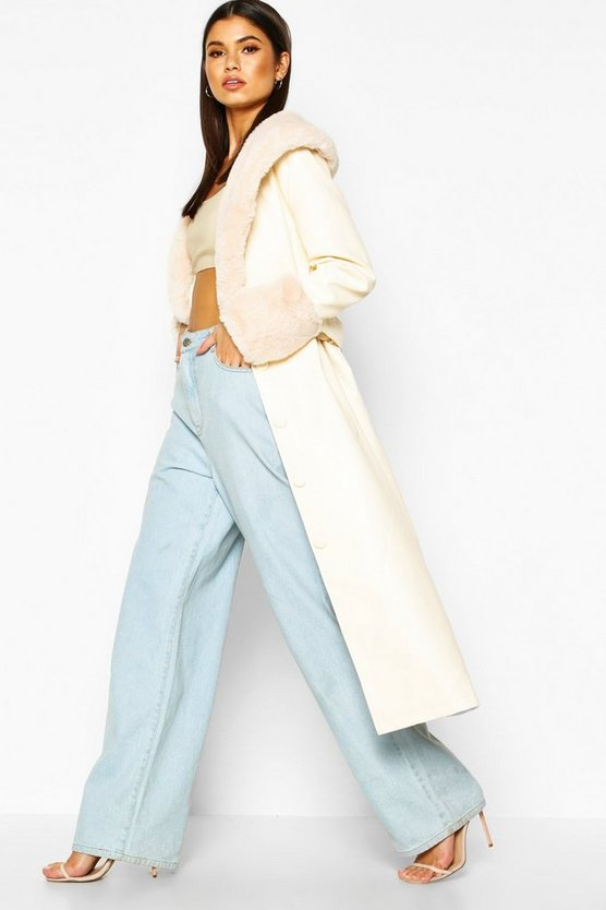 Faux Fur Trim Pu Trench Coat by Boohoo