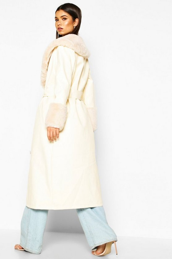 Faux Fur Trim Pu Trench Coat