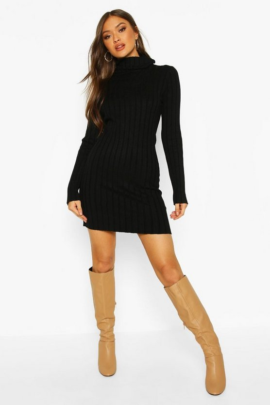 Black Roll Neck Rib Knit Jumper Dress