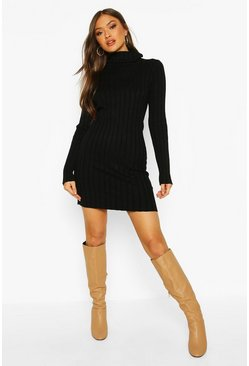 Womens Black Roll Neck Rib Knit Jumper Dress