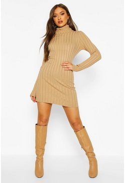 Womens Camel Roll Neck Rib Knit Jumper Dress