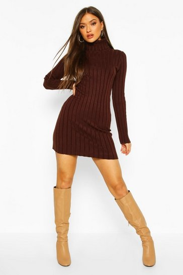 Womens Chocolate Roll Neck Rib Knit Jumper Dress