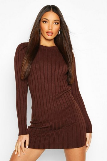 Womens Chocolate Crew Neck Rib Knit Mini Dress