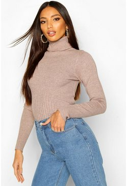 Womens Brown Roll Neck Rib Knot Jumper