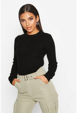 Black Crew Neck Rib Knitted Jumper