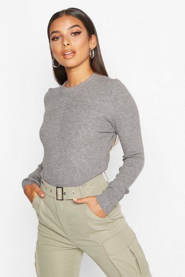 Womens Grey marl Crew Neck Rib Knitted Jumper