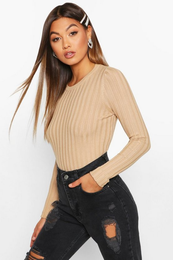Womens Camel Crew Neck Jumper