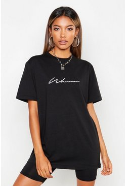 Black Woman Script Embroidered T-Shirt